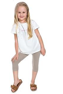 Girls Cropped Children 3//4 Cotton Leggings Basic Plain Kids Capri Pants Age 3-11