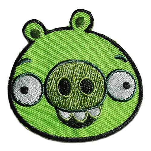 Aufnäher/Bügelbild - Angry Birds Comic Kinder - grün - 5,9x5,8cm - Patch Aufbügler Applikationen zum aufbügeln Applikation Patches Flicken (Angry Bird Kissen)