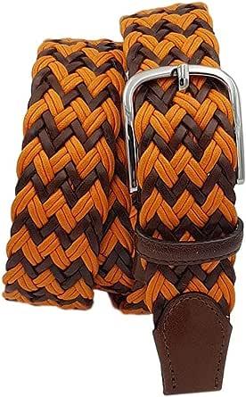 ESPERANTO Cintura intrecciata uomo donna con treccia cotone e cuoio, puntali vera pelle e fibbia nichel free anallergica 3,5 cm