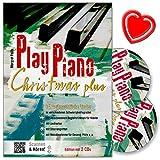 Play Piano Christmas Plus - Das Buch der Weihnachtslieder von Margret Feils mit 2 CDs – für alle Jahre immer wieder - Jeder Titel in 4 Levels - mit bunter herzförmiger Notenklammer