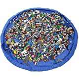KINGZHUO 60 Inch Portable Children's Play Mat And Toy Storage Bag For Baby And Kids Toys Organizer Quick Toy Mat Simple Dark Blue