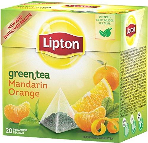 Lipton - Tè verde all'arancia e al mandarino, 20 bustine a piramide, 4 confezioni (4 x 55 g)