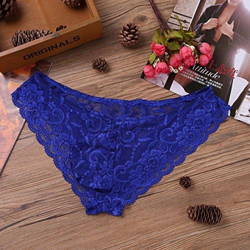 Freebily Herren Spitze Slips Strings Lila Lace Badehose Reizwäsche Erotik Dessous Unterhose Briefs Männer Unterwäsche M-XL Blau