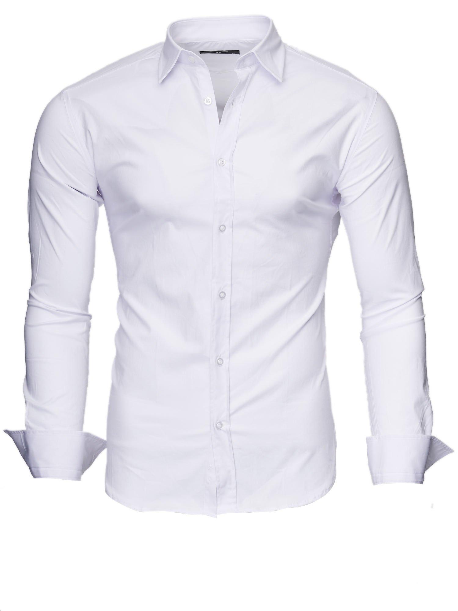 Kayhan Camisas Hombres Camisa Hombre Manga Larga Ropa Camisas de Vestir Slim fácil de Hierro Fit S M L XL XXL-6X – Uni