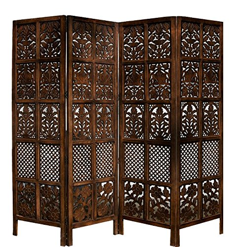 Aarsun Woods Floriferous 4 Panel Handcrafted Wooden Partition / Room Divider