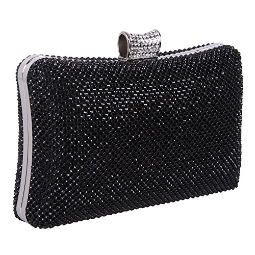 Bonjanvye Evening Bags for Women Rhinestone Crystal Clutch Bag Pure Black Pure black