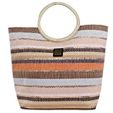 For Time Bolso de Mano de Rafia Multicolor, Tela y de Playa para Mujer, 1 x 37 x 49 cm