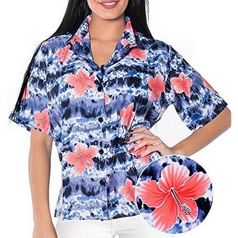 La Leela hibisco vintage 4 en 1 Hawaii floral con botones manga corta clásica hawaiana fiesta tema eventuales día fiesta sala estar regalo blusa regular la tapa vestido camisa hawaiana ajuste negro