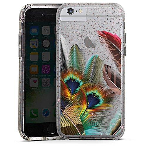 Apple iPhone 8 Bumper Hülle Bumper Case Glitzer Hülle Pfauenfedern ohne Hintergrund Pfau Bumper Case Glitzer rose gold