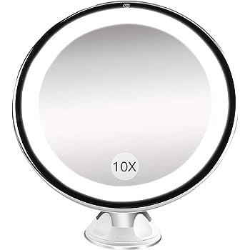 Bestope Miroir Maquillage grossissant 10x Lumineux,16 LED, 360°Rotation Ajustable,fonctionnant sur Piles,Miroir de Salle de Bain Portable Lumineux sans Fil Blanc (Cadeaux de fête de mères)