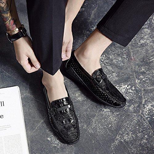 Chaussures En Cuir Sont Doug Crocodile Brevet Européen Chaussures Glisse Sur Mocassin Summer Respirable Chaussures Black