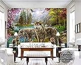 Yosot Persönlichkeit 3D Tapeten Wald Rot Peach Tree Unter Grauen Wolf Wild Hund Tier Kind Malen Tapeten Für Wände 3 D-200Cmx140Cm