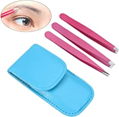 Frcolor 3pcs Stainless Steel Eyebrow Tweezers with Slant Straight Pointed Tips for Eyebrow Ingrown Hair and Splinters with Leather Bag