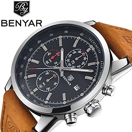 Fashion Casual Herren Quarz-Armbanduhr mit Braun Leder Armband Chronograph Wasserdicht Datumsanzeige analog Sport Military Handgelenk Uhren