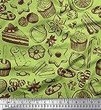 Soimoi Grun Poly Krepp Stoff Cupcake, Kekse & Süßigkeiten