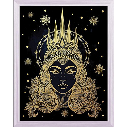 Pitaara Box Fantasy Snow Queen Portriat Canvas Painting White Frame 18 X 23.1Inch (Queen-size-split-box)