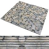 Badematte aus Weichschaum | zahlreiche Größen | schadstoffgeprüft gemäß REACH | rutschfester Badvorleger | abwaschbar & schnelltrocknend | 65x250 cm | Stein-Optik