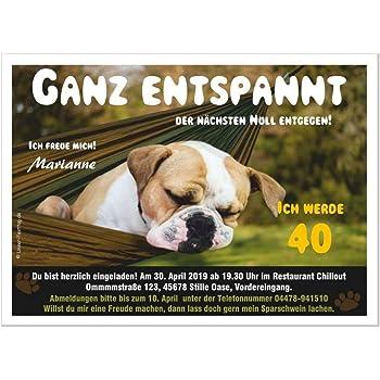 Wunschtext DIN A5 5 Geburtstagseinladungen f/ür Erwachsene lustig witzig 20 30 40 50 66 jedes Alter Hund mit Brille