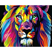 Wood Frame, Paint by Numbers DIY Oil Painting Colourful Lion Canvas Print Wall Art Home Decoration by Rihe