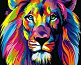 Frameless, Paint by Numbers DIY Oil Painting Colourful Lion Canvas Print Wall Art Home Decoration by Rihe