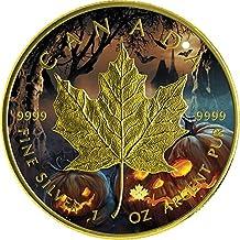 HALLOWEEN MAPLE LEAF Foglia Acero 1 Oz Moneta Argento 5$ Canada (1 Oz Argento Bu Bu Coin)