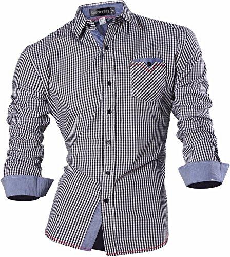 Sportrendy Homme Chemises Casual Chemise a Carreaux Manches Longues Mode Men Fashion Plaid Shirt Slim Fit Long Sleeves Dress Shirt MFN2_MAJ001 MAJ011_Black