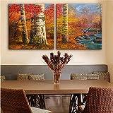 NAUY-Modern Style Canvas Painting Grove Reloj de Pared en Lienzo 2 Piezas