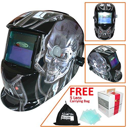 Leopard LEO-WH86 Solarbetriebene + Automatische Verdunkelung + Schleiffunktion + 9-13 Schatten Schweißhelm Maske mit 5 Kostenlosen Ersatzlinsen | #05 Metall - G1 Auge