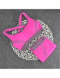 ny Set Sports Underwear Correr respirables Shock Fitness Fitness Thin sección sin sujetador de acero Bra Vest ( Color : Rosa Roja , Tamaño : L )