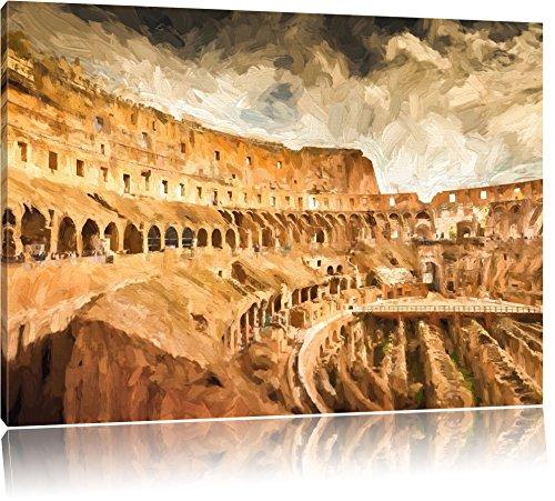 uraltes Kolosseum in Rom Format: 100x70 auf Leinwand, XXL riesige Bilder fertig gerahmt mit Keilrahmen, Kunstdruck auf Wandbild mit Rahmen, günstiger als Gemälde oder Ölbild, kein Poster oder Plakat