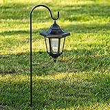 Lanterne noire à led à énergie solaire avec piquet, h 64,5 cm, led blanc froid