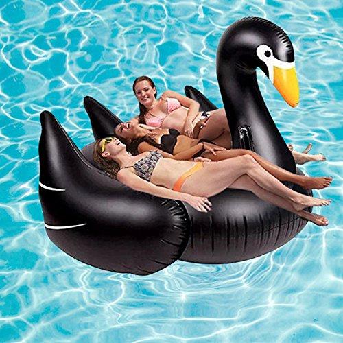 Eurotrade W HW2001423 Kinder/Kids/Erwachsene fahrbare Liege Fahrt auf Schwan Vogel aufblasbare Schwimmer Spielzeug, schwarz, groß