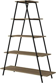 BRV Moveis Rack Ladder with Four Shelves, Brown & Black - H 147.9 cm x W 110 cm x D 38 cm