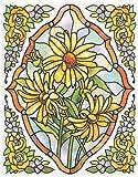 dpr. Fensterbild Set 5-tlg. - Tiffany Optik - Blumen - Ringelblume/Gerbera - zart beglimmert - mit Eckbordüren - Fenstersticker Aufkleber - Fensterdeko
