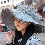 YANGFEIFEI-MZ Das Mädchen im Sommer Visor tide Bow Tie snow Lotus Blätter rand Hüte sun Gewebe-light Cap faltbare Ergänzungen, Blau