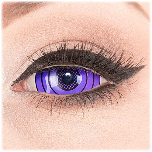 (Farbige Kontaktlinsen zu Fasching Karneval Halloween 1 Paar Crazy Fun Sclera violette 'Violet Rinnegan' 22 mm mit Behälter in Topqualität von 'Glamlens' ohne Stärke)