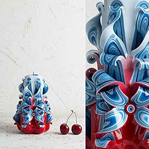 Geschnitzte rot-blaue Kerze - patriotische Geschenkidee als Dekoration - handgemachte EveCandles