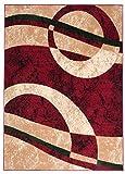 Designer Teppich Modern Kreis Muster Meliert In Rot Beige - ÖKO TEX (200 x 300 cm)