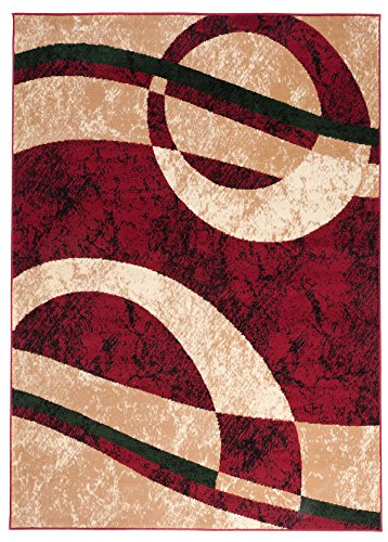 Carpeto Designer Teppich Modern Kreis Muster Meliert In Rot Beige - ÖKO Tex (130 x 190 cm)