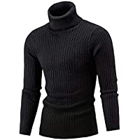AIDEAONE Mens Turtleneck Sweater Casual Ribbed Slim Fit Knitted Jumper High Roll Neck Basic Turtleneck Pullover