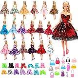 9bf39827d Miunana 45 Accesorios   15 Vestidos de Corto + 15 Pares Zapatos + 15 Bolsas  como Regalo para Barbie Muñeca Doll