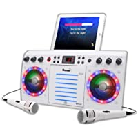 Beatbox Karaoke Machine CDG/CD+G. Built in Disco Lights. Includes 240 Song Family Party Hits Pack & 2 Microphones (Wired Microphones)