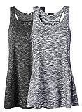 Damen Tank Top Sommer Sports Shirts Oberteile Frauen Baumwolle Lose Ärmellos for Yoga Jogging Laufen Workout-bg-xl-2pc
