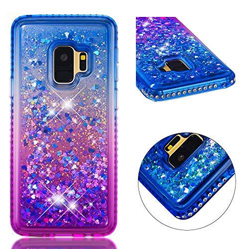 BONROY Hülle für Samsung Galaxy S9 Schutzhülle mit Flüssig-Glitzer,Handyhülle,Schutzhülle,Back Cover mit Glitter Flüssigkeit,aus TPU/Silikon,Transparent-(YB-Gradient blau lila)