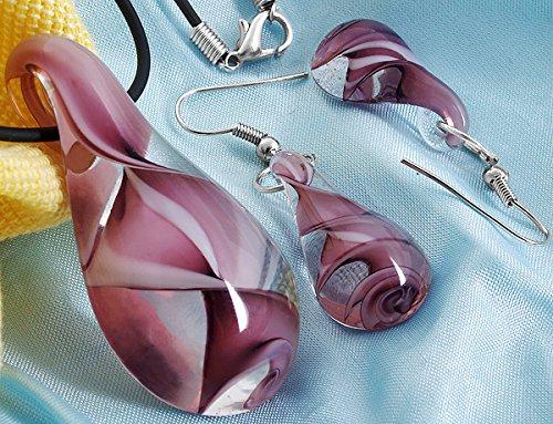 Skyllc® Set di orecchini della collana del pendente delle perle di vetro forma di goccia d'acqua a spirale murano Viola