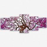 ge Bildet Hochwertiges Leinwandbild XXL - Rosa Lapacho Baum in Pocone - Brasilien - 200 x 80 cm mehrteilig (5 Teilig)| Wanddeko Wandbild Wandbilder Wohnzimmer deko Bild |