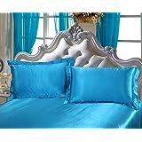 DEHMAN Satin 600 TC Pillow Cover, Toddler Size - 12 x 19 Inch, Blue, 2 Pieces