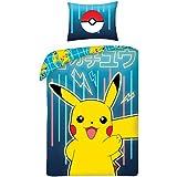 Halantex Parure de lit Pokémon Pikachu Jaune Bleu 2 pièces Housse de Couette 140 x 200 cm + 1 taie d'oreiller. 100 % Coton ce