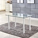 ospi® Gehärtetem Glas Esstisch mit Metall Beine Esszimmer Möbel clear