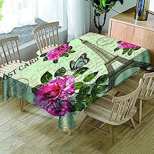 NO BRAND Mantel de poliéster 3D printRed Flower Tower Cubierta de Mesa a Prueba de Polvo para la Cocina Mesa de Comedor Decoración Mantel de impresión 3D, 200x140cm.